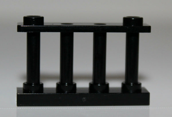 Lego 2x Black Fence Spindled 1 x 4 x 2 NEW