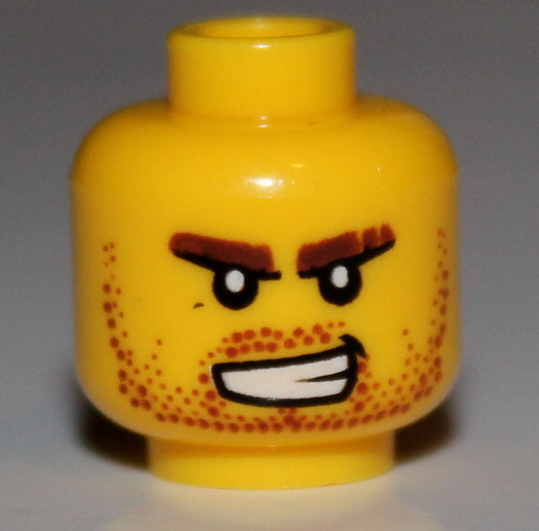 Lego Yellow Minifig Head Beard Stubble Bared Teeth White Pupils Pattern NEW