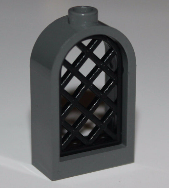 Lego Dark Bluish Gray Window 1x2x2 2/3 Lattice Pane NEW