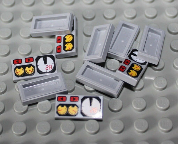 Lego 10x Light Bluish Gray 1 x 2 Tile Decorated Car Dash Board MPH Gauges NEW