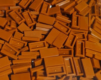 Lego 25x Dark Orange 1 x 2 Tile with Groove Plate NEW