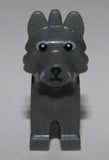 Lego Dark Bluish Gray Dog Terrier w/ Black Eyes Nose Fur Lines Pattern Toto NEW