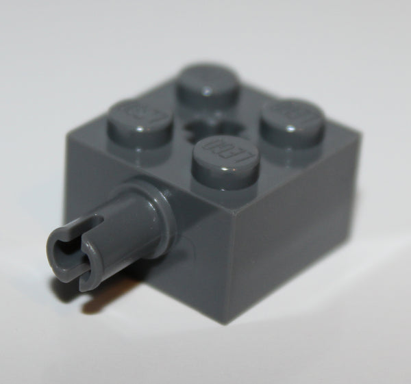 Lego 10x Dark Bluish Gray Brick Modified 2 x 2 with Pin and Axle Hole