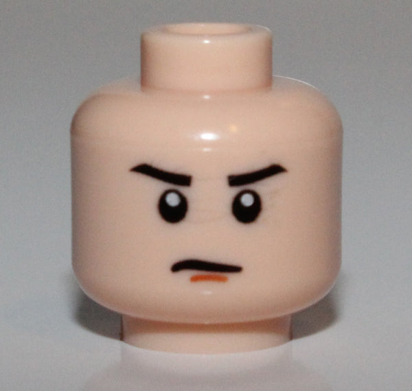 Lego Star Wars Light Nougat Minifig Head Male Stern Eyebrows Orange Chin Dimple
