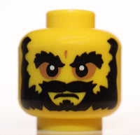 Lego Yellow Minifig Head Beard Black Bushy Eyebrows Angry Mouth White Pupils