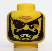 Lego Minifig Head Male Eyepatch Black Bushy Beard Moustache Missing Tooth