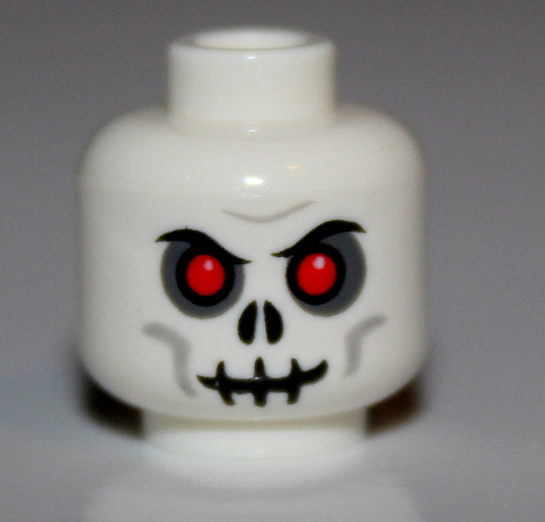 Lego Castle White Undead Skeleton Head w/ Red Eyes NEW