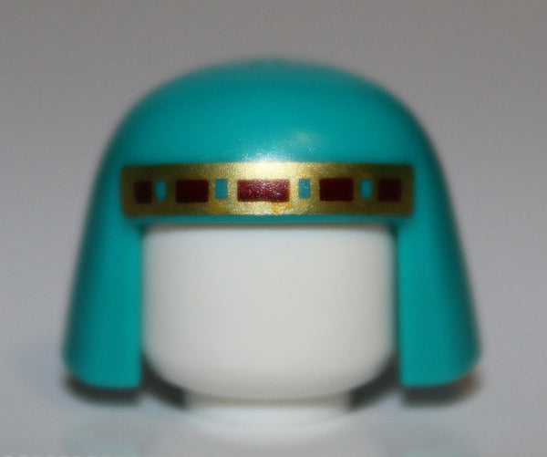 Lego Dark Turquoise Minifig Headgear Nemes with Gold and Dark Red Trim Pattern
