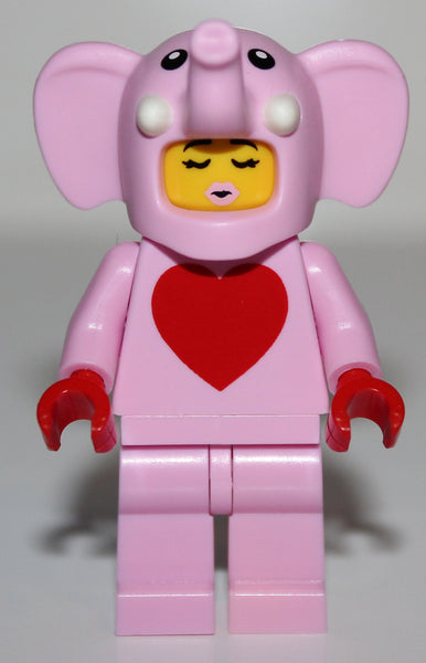 Lego Bright Pink Elephant Valentine's Day Minifig w/ Red Heart Torso