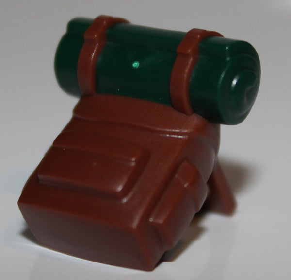 Lego Reddish Brown Minifig Backpack Dark Green Bedroll Pattern