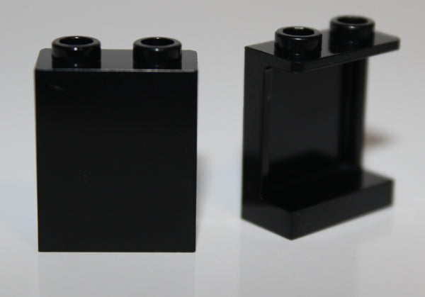 Lego 10x Black Panel 1 x 2 x 2 w/ Side Supports - Hollow Studs
