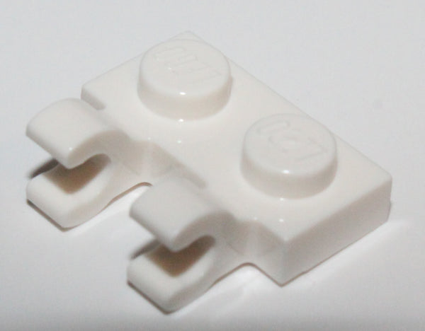 Lego 20x White Plate Modified 1 x 2 with 2 Open O Clips Horizontal Grip