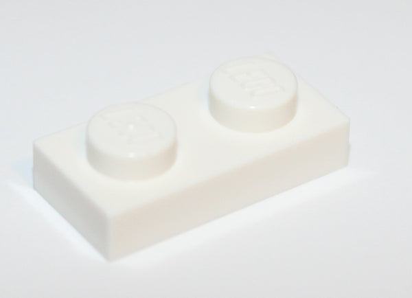 Lego 20x White 1 x 2 Plate NEW
