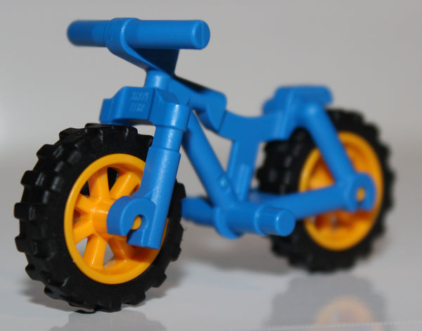 Lego Blue Bicycle Frame Heavy Mountain Bike Bright Light Orange Wheels