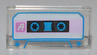 Lego Trans-Clear Tile 1 x 2 with Groove Audio Cassette with 'A'