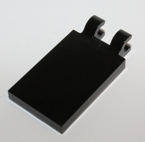 Lego 20x Black Tile Modified 2 x 3 with 2 Open O Clips
