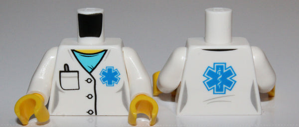 Lego Torso Hospital Lab Coat Medium Azure Scrubs Blue EMT Star of Life