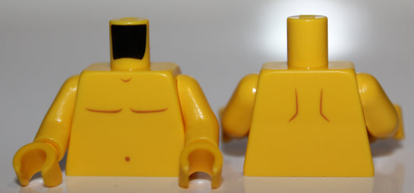 Lego Yellow Torso Bare Chest Dark Orange Body Lines and Navel Pattern