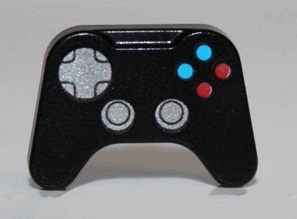 Lego Black Minifig Utensil Video Game Controller Silver Control, Blue Red Buttons