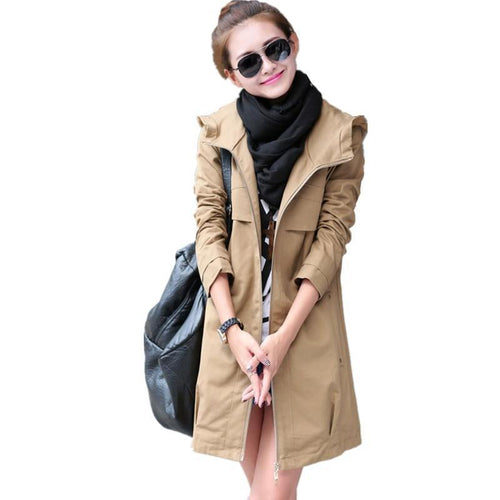 New Fashion Plus Size Women Coat Spring Autumn Casual Hooded