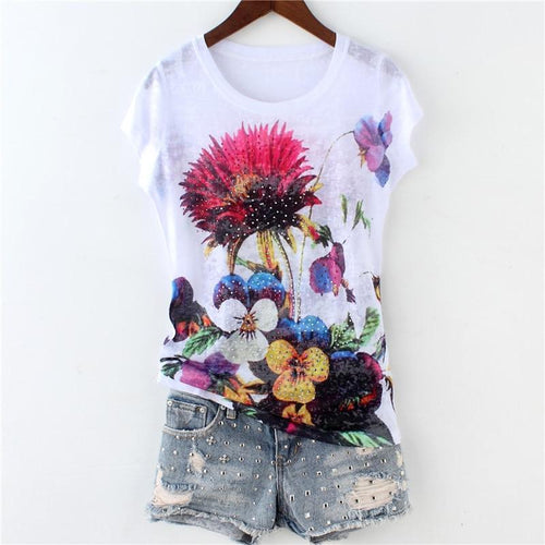 New arrival hot drilling peony double print short sleeve silk cotton thin t shirt