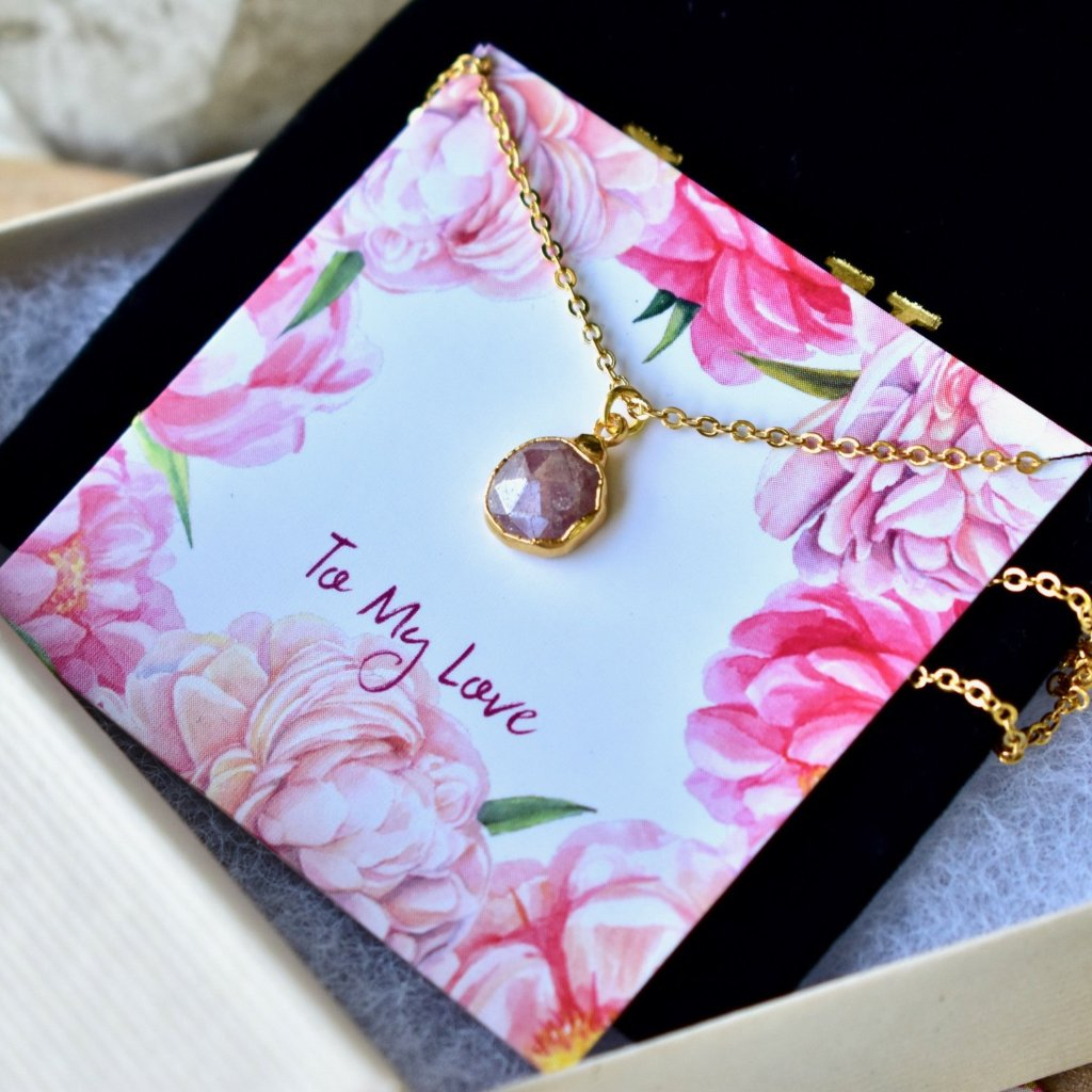 TO MY LOVE NECKLACE /// PINK QUARTZ