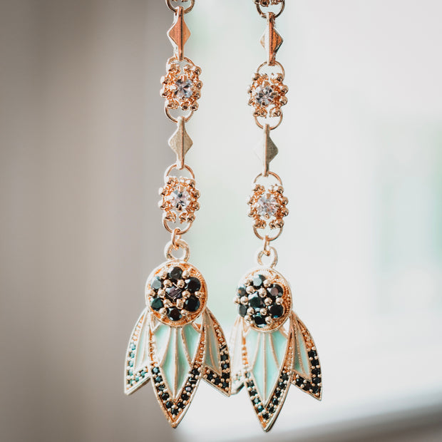 TIGER LILY DANGLE EARRINGS /// LAGOON GREEN