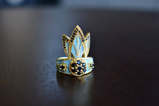 TIGER LILY RING /// AQUA BLUE