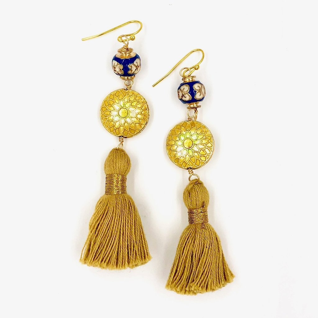 MARRAKESH FRINGE EARRINGS /// BLUE & YELLOW