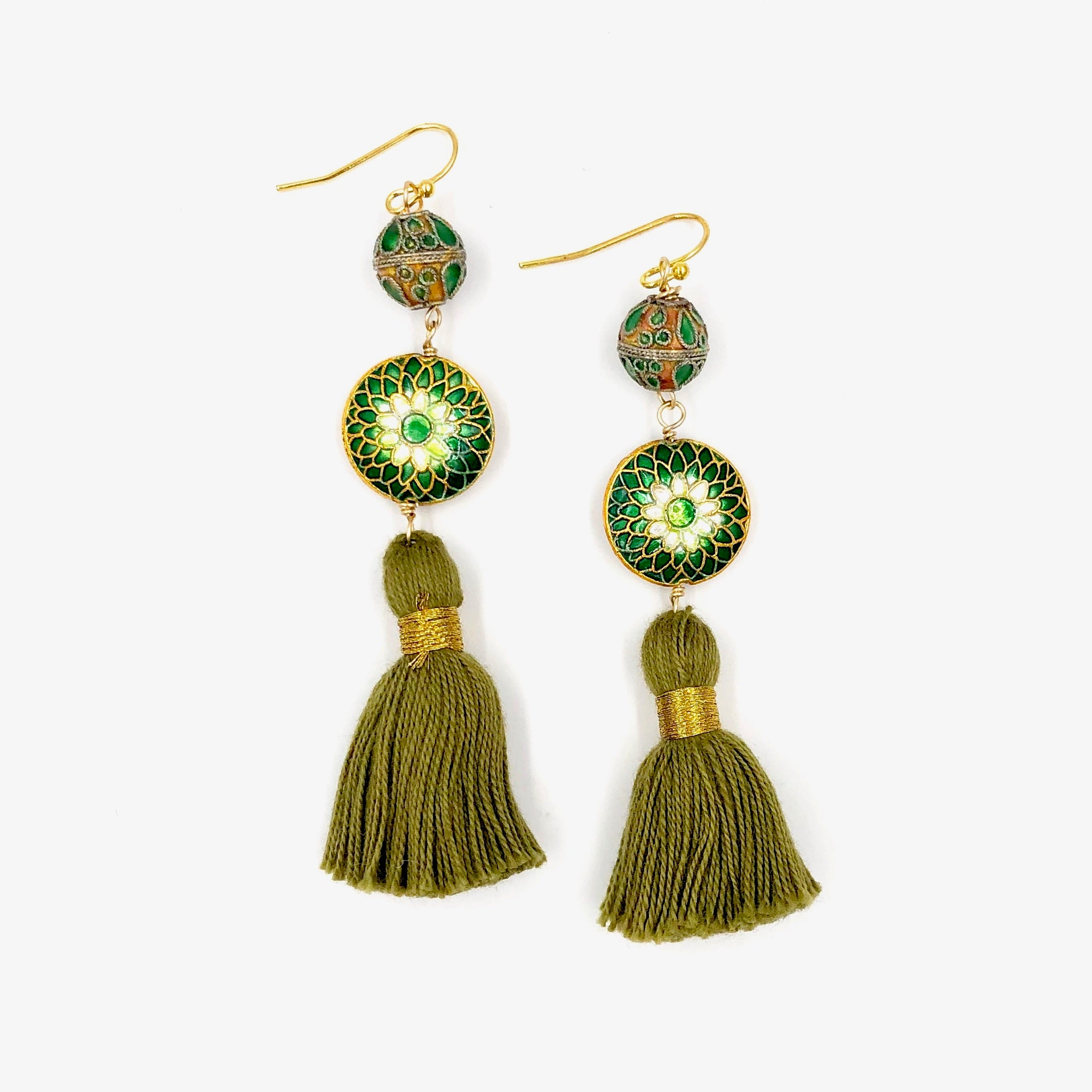 MARRAKESH FRINGE EARRINGS /// GREEN & WHITE