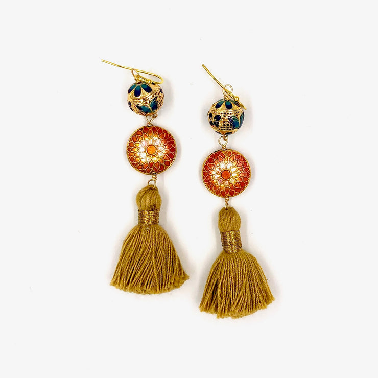MARRAKESH FRINGE EARRINGS /// CORAL & BEIGE