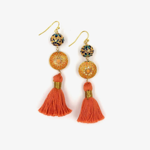 MARRAKESH FRINGE EARRINGS /// CORAL, ORANGE & BLUE