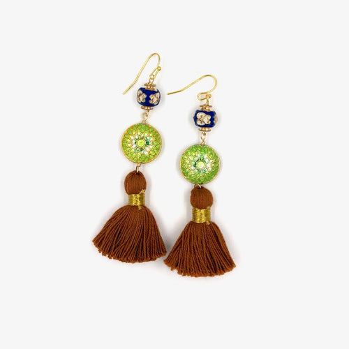 MARRAKESH FRINGE EARRINGS /// BROWN, GREEN & BLUE