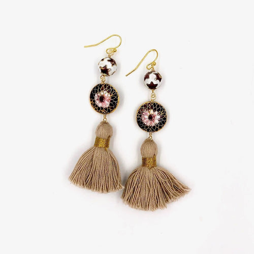 MARRAKESH FRINGE EARRINGS /// BEIGE & BURGUNDY