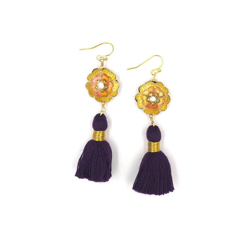 MARRAKESH FRINGE EARRINGS /// PURPLE & YELLOW