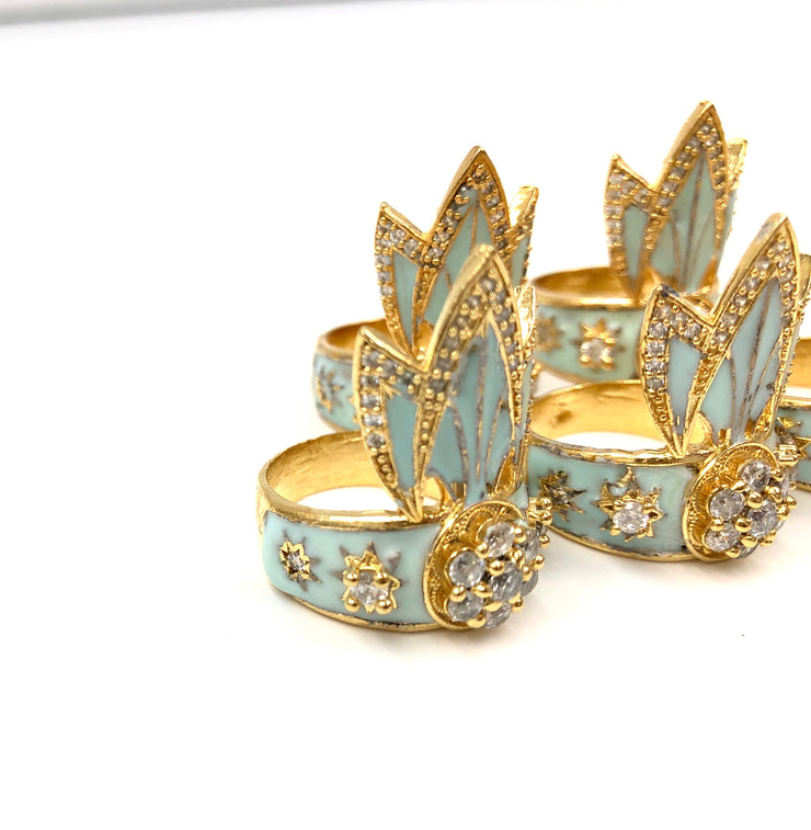 SAMPLE SALE TIGER LILY RING /// AQUA BLUE & WHITE CZ's