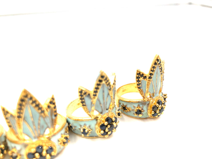TIGER LILY RING /// AQUA BLUE & BLACK CZ's