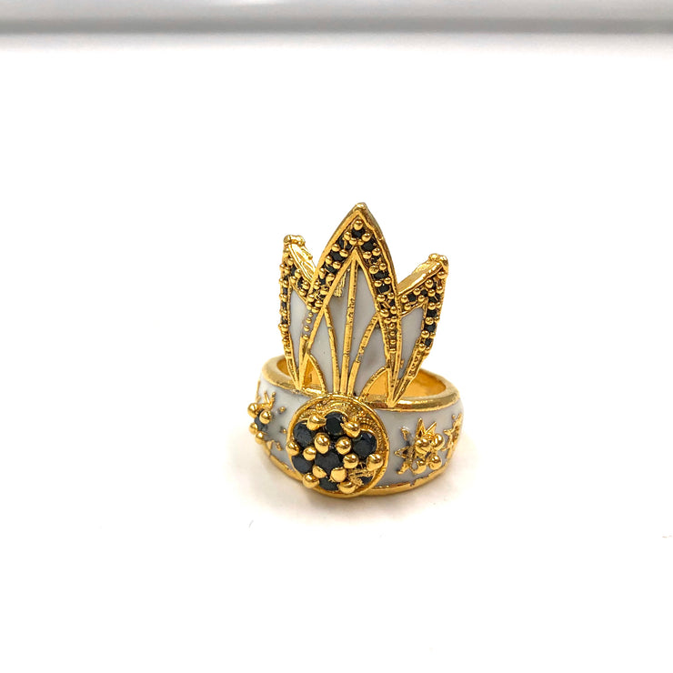 TIGER LILY RING /// WHITE & BLACK CZ's