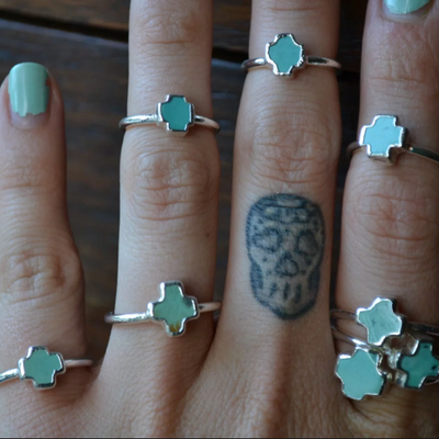 MARIA RA RING /// TURQUOISE CROSS RING
