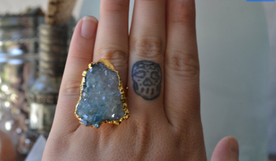 AQUA AURA CLUSTER RING /// GOLD