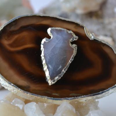 AGATE SLICE RING /// ARROWHEAD