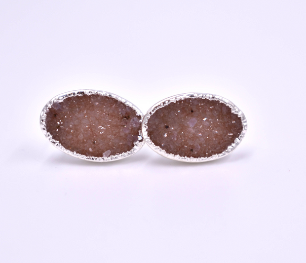 SILVER DRUZY STUD EARRINGS - OVAL SHAPE/PEACH