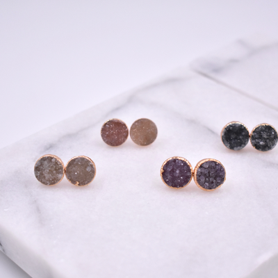 DRUZY STUD EARRINGS- ROSE GOLD/ROUND SHAPE/AMETHYST DRUZY