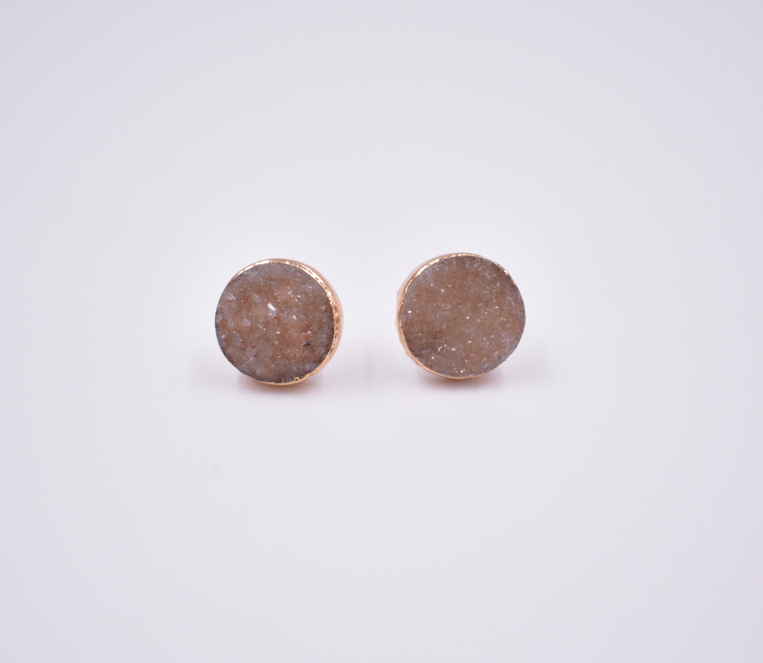 DRUZY STUD EARRINGS- ROSE GOLD/ROUND SHAPE/PEACH DRUZY