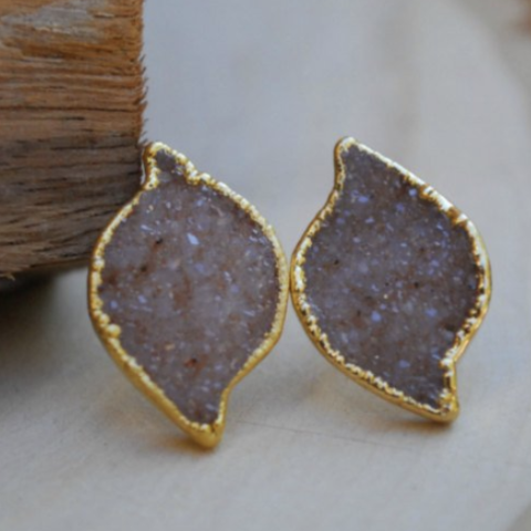 DRUZY STUD EARRINGS- FANCY MARQUISE SHAPE/PEACH DRUZY