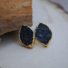 DRUZY STUD EARRINGS- FANCY MARQUISE SHAPE/BLACK DRUZY