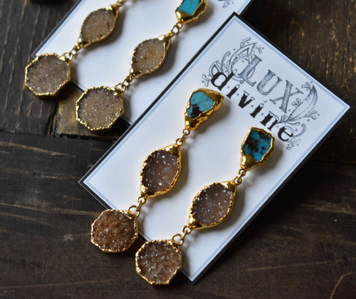 TURQUOISE DRUZY DANGLE EARRINGS