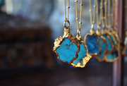 PETITE AQUA NECKLACE /// GOLD