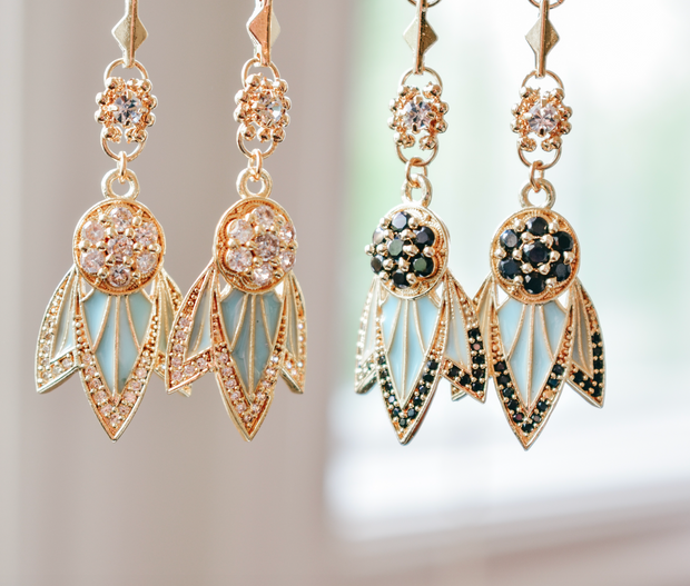TIGER LILY DANGLE EARRINGS /// AQUA BLUE