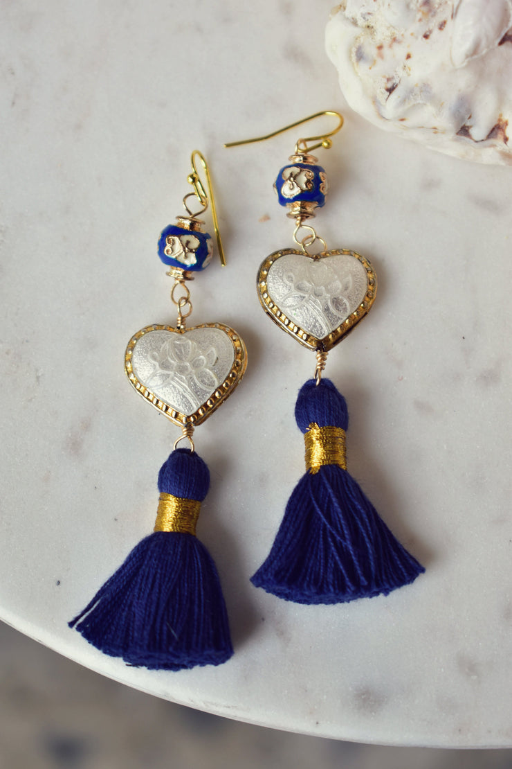 CAMILLA FRINGE EARRINGS /// DARK BLUE & WHITE